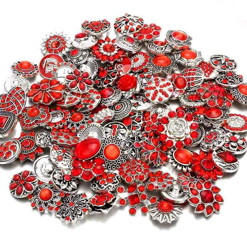 10 Buah/Banyak Kualitas Tinggi Mencampur Banyak Berlian Imitasi Gaya Logam Pesona 18Mm Snap Tombol Gelang untuk Wanita DIY Snap Tombol perhiasan