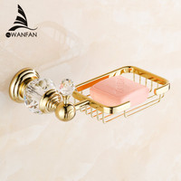 Free Shipping Crystal Brass Gold Bathroom Accessories Soap Dishes Soap Holder Soap Case HK 30