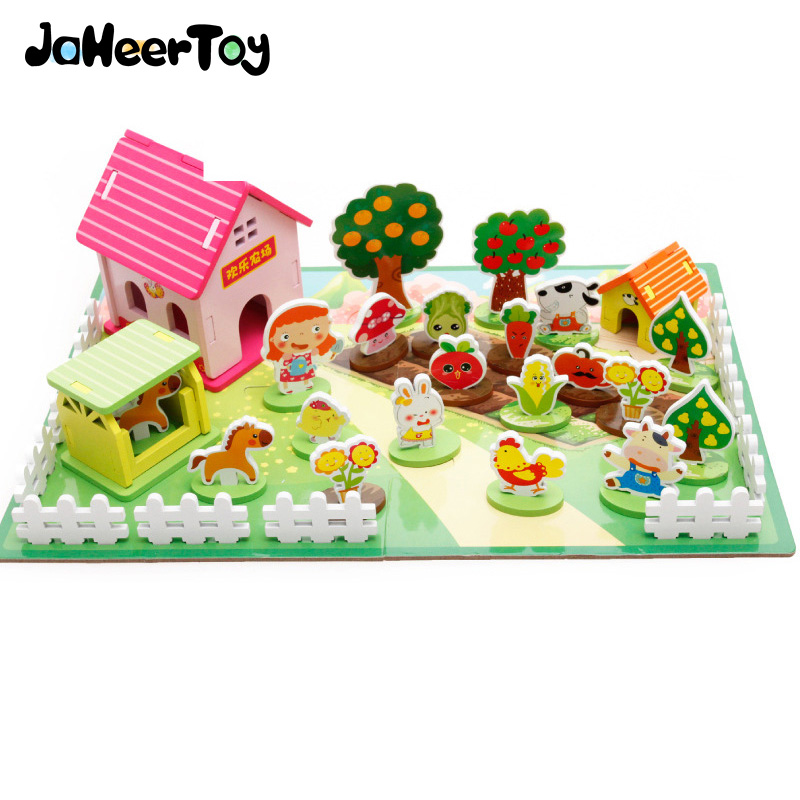 JaheerToy  Baby Toys for Children Cartoon Animal 3D Puzzle Happy Farm Toy for Girls Gifts Wood Montessori Educational музыкальные игрушки potex синтезатор animal farm 8 клавиш 686b