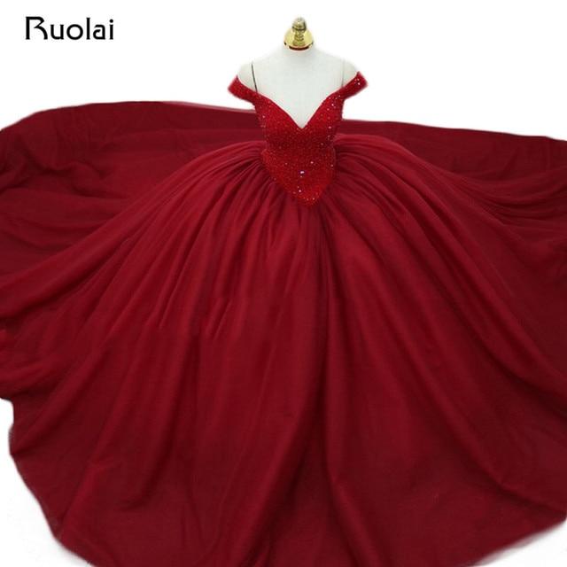 Gorgeous Burgundy Evening Dress Long 2019 V-Neck Beaded Princess Ball Gown Prom Dress Evening Gown Vestido de Fiesta ASAE34