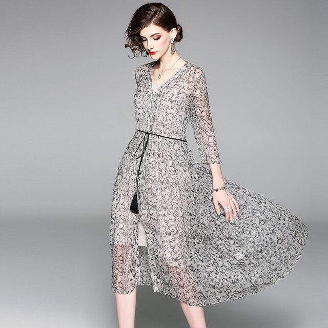 100% Silk Dress Women Printed V Neck Stable Sashes Three-quarter Sleeves Two Pieces Set New Fashion Spring 2019