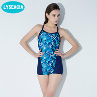 Female Sport Swimwear Female Sexy One Piece Swimsuit Printed Straps Vintage Beachwear Pads Women Pool Learn Swimming Clothes