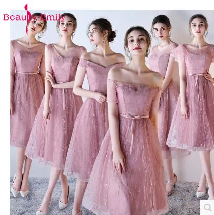 Beauty-Emily Short   Bridesmaid     Dresses   2019 Sleeveless Tea-length Lace up A-Line Cheap Formal Ceremony Party Prom   Dresses