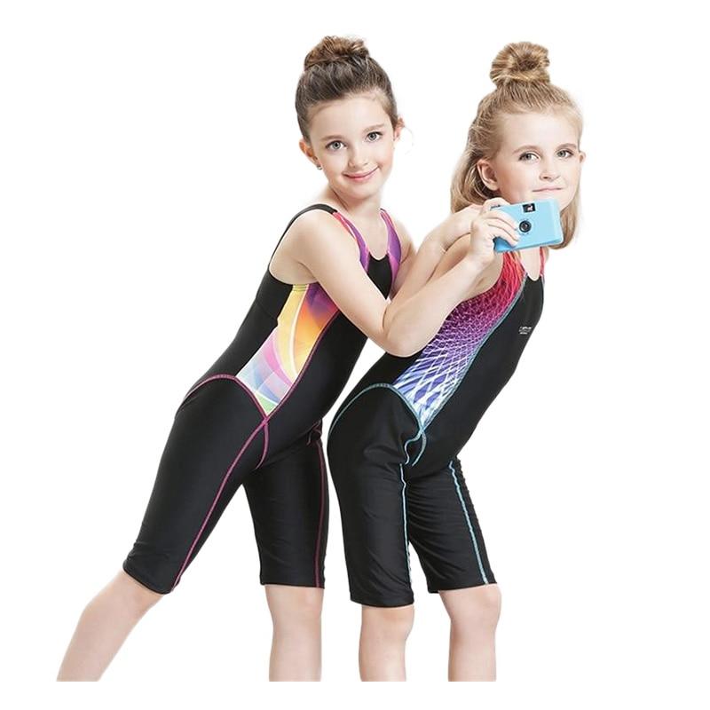 Děti Rychleschnoucí plavky Dívčí soutěž Bodysuits Plavky bez rukávů Dlouhé šortky Plavky