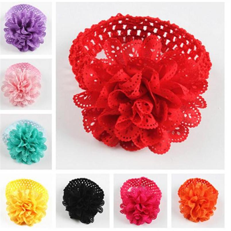 2018 Hot Sale baby hair accessories Baby Kids Girls Lace Flower Hairband Headband Dress Up Head band Black diademas ninas S# retail triple satin flower rosettes feather baby headband vintage burlap lace hairband kidocheese