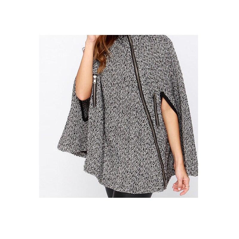 Outwear Femmes Cape Nouveau Laine Glissière Style Automne Britannique Et Mélanges 2016 De Hiver Mode Manteau Vêtements Blanc Longue Poncho YwOpC