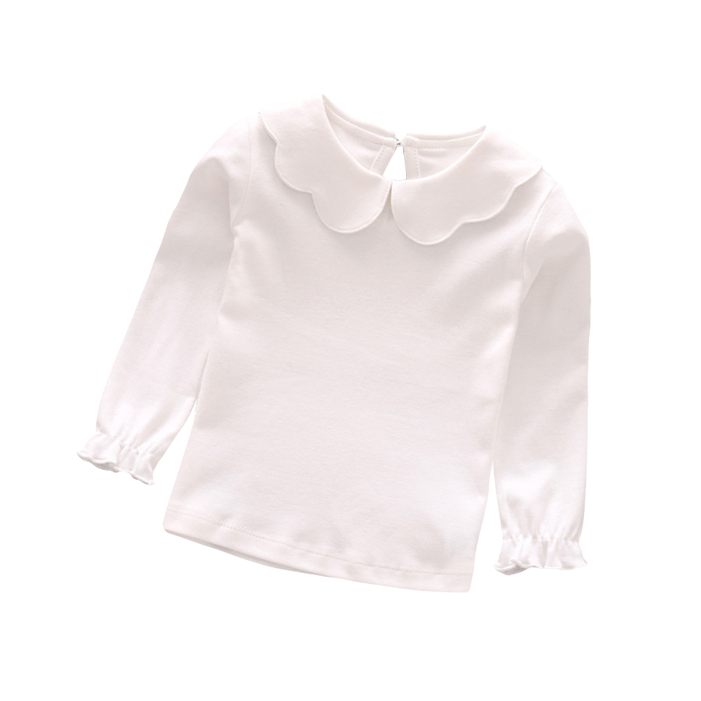 Baby Girl Kids Cotton Peter Pan Collar Long Sleeve Solid Col