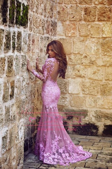 2015 Hot Beauty Pink Mermaid Prom Dresses Applique Lace Sheer Long Sleeve  Tulle Long Party Gowns Backless GL 5dcfd760a3cf
