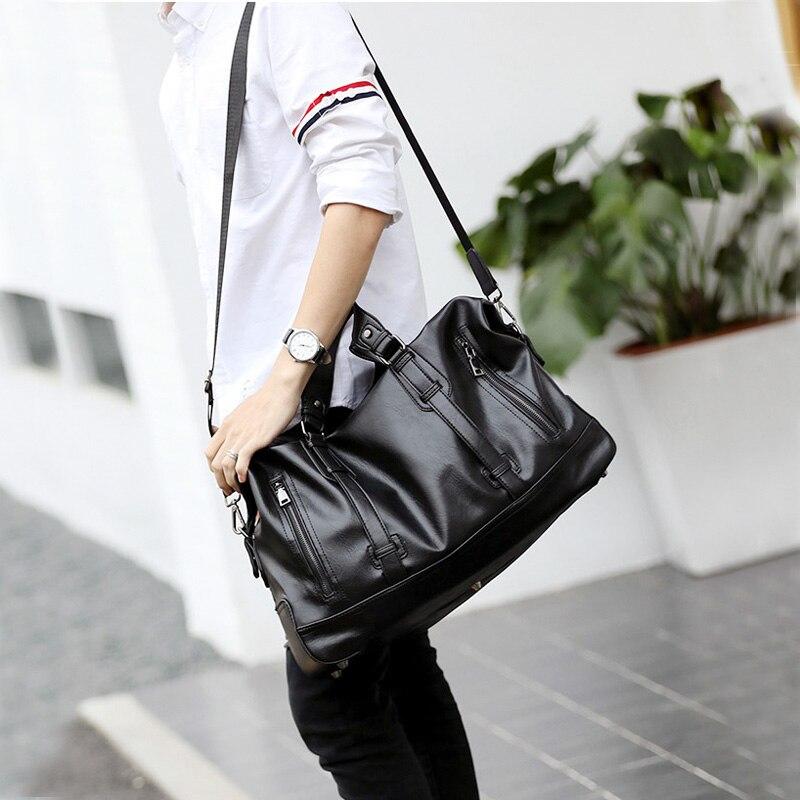 Men Travel Duffle Bag Waterproof Large Capacity PU Leather Luggage Handbag Men 39 s Shoulder Women Weekend Travelling Bags XA78WC in Travel Bags from Luggage amp Bags