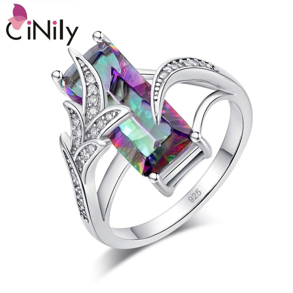 CiNily Arco Iris piedra mística Lavish cuadrado grande anillos chapados en plata CZ Cubic Zir Boho bohemio Vintage joyería las mujeres las niñas