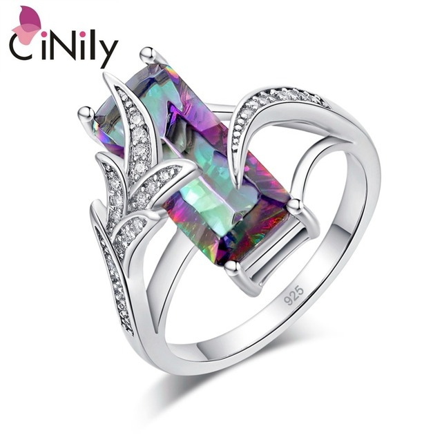 CiNily Rainbow Mystic Stone Luxe Big Rings Silver Plated Vintage Ring Zirconia C