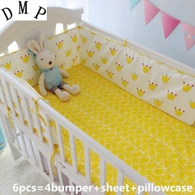 Promotion! 6PCS Baby Bedding Set 100% Cotton Baby Bedcloth Cartoon Crib Bedding Set, include:(bumper+sheet+pillow cover)