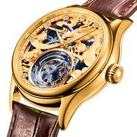 Original Tourbillon Mechanical Watches Men Watch Mechanical Hand Wind Hollow Movement Genuine Leather Mens Watch As Gift Box