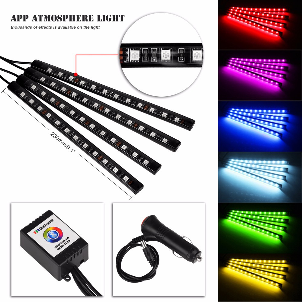 4x Car LED RGB Music Interior Atmosphere Floor Underdash Lighting RGB Music Control Strip Lights Kit Multicolor APP Bluetooth Controller for iPhone Android 8