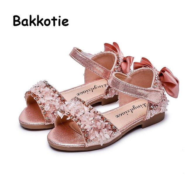 newest 662f4 0dedc Bakkotie 2019 Baby Mädchen Mode Strass Sandalen Sommer Neue Kinder Weiche  Kleid Schuhe Prinzessin Süße Bowtie Rosa