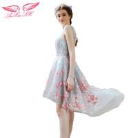 AnXin SH Grey Lace Flower Evening Dress Summer Beauty Playful Short Long Before After A Light