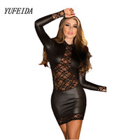 Sexy Black Wetlook Lace PVC Dress Bodycon Fetish Faux Leather Gothic Long Sleeves O-Neck Night Clubwear Sexy Dance Club Dress