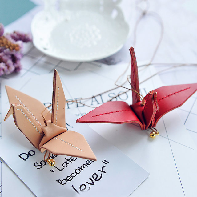 Online Shop Car Pendant Cowhide Handcraft Origami Paper Cranes