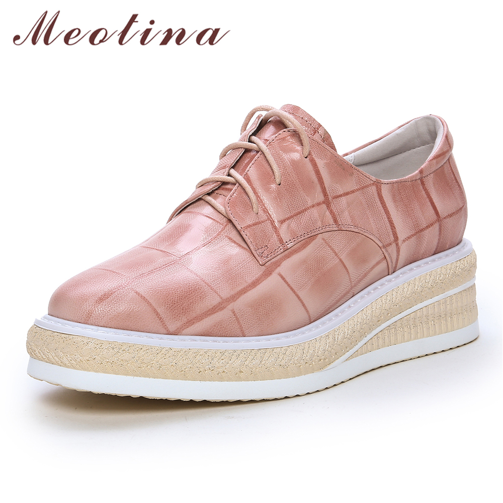 Meotina Sheepskin High Heels Women Shoes Natural Genuine Leather Platform Wedge Heels Shoes Lace Up Casual