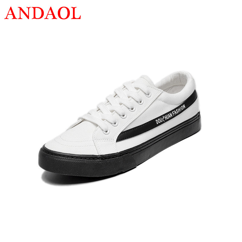 ANDAOL Classic Mens Canvas Shoes Summer Fashionable Youth Sneakers Breathable Walking Casual Campus Student Lace Up Flats