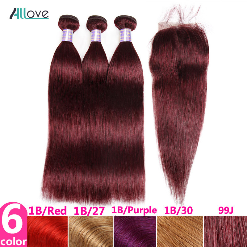 Allove 99J Bundles with Closure Ombre Human Hair Bundles with Closure Non Remy Indian Straight Hair