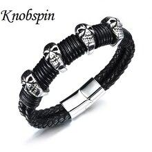 New fashion perfect jewelry men leather titanium steel bracelets male Vintage PUNK Rock SKULL bracelets & bangles