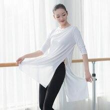 Women dancewear long T shirt lyrical dance tops women T-shirt hip hop jazz cotton