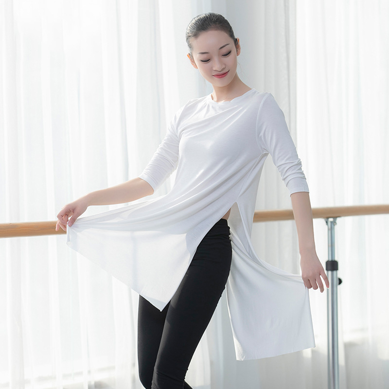 Ballet Women Dancewear Long T Shirt Lyrical Dance Tops Women T-shirt Hip Hop Dance Tops Jazz Cotton Shirt Sports T Shirt Yoga