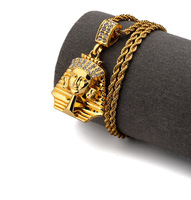 Trendy Dope Strass Iced Out Ägyptischen Pharaos König Anhänger Halskette Hip Hop Swag Bling Schmuck
