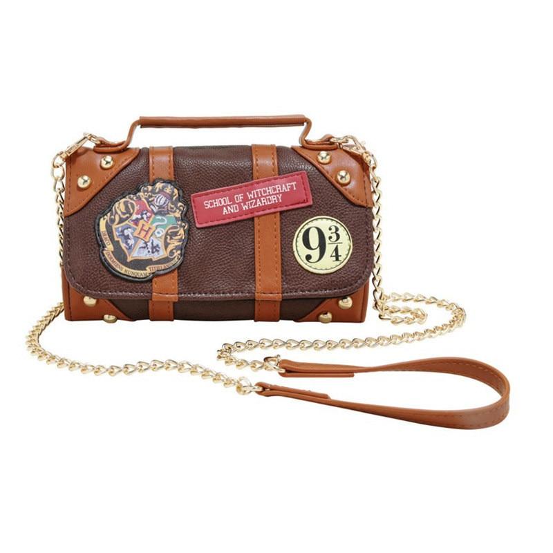 Harry Potter Cosplay School Badge Women's Handbag Wallet Long Student Chain Purse Holders Clutch Bags