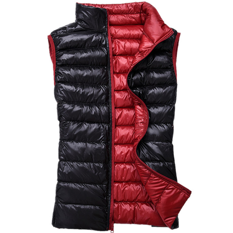 2018 Herbst Winter Frauen Sleeveless Jacke Ultraleichte Weiße Ente Daunenweste Mantel Weibliche Weste Doppel Mantel Outwear Tuch A887 Angenehm Bis Zum Gaumen