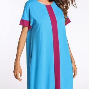 Image 4 - 2020 קיץ נשים שמלת גדול צבע בלוק קצר שרוול בתוספת גודל מוסלמי העבאיה תורכי קפטן דובאי מזדמן חלוק VKDR1162