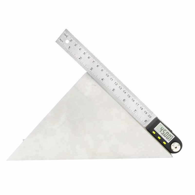 Digital Angle Finder Penggaris 200 Mm Busur Derajat Digital Digital Goniometer 2-In-1 Sudut Gauge dengan Stainless Steel pisau