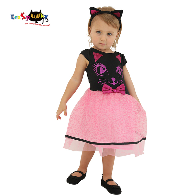 e9a19fe1bf9b Pink Kitty Cat Dress Baby Girl Halloween Costume for Kids Toddler Tutu Dress  Glitter Lace Infant Cosplay Birthday Party Clothes