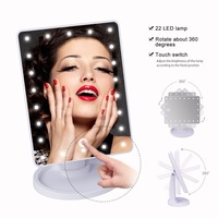 Biutee 360 Degree Rotation Touch Screen Make Up Mirror Cosmetic With 16 LED Lights Brightness adjustable Makeup Tool