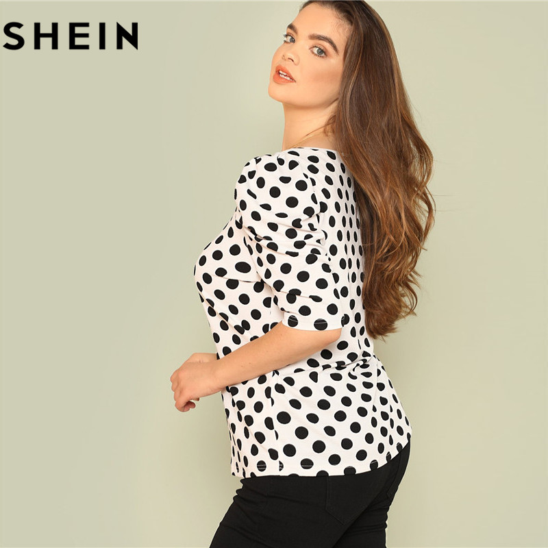 SHEIN Black And White Polka Dot Puff Sleeve Round Neck Plus Size Tops 2018 Summer Casual Office Lady Half Sleeve Elegant Blouses 1