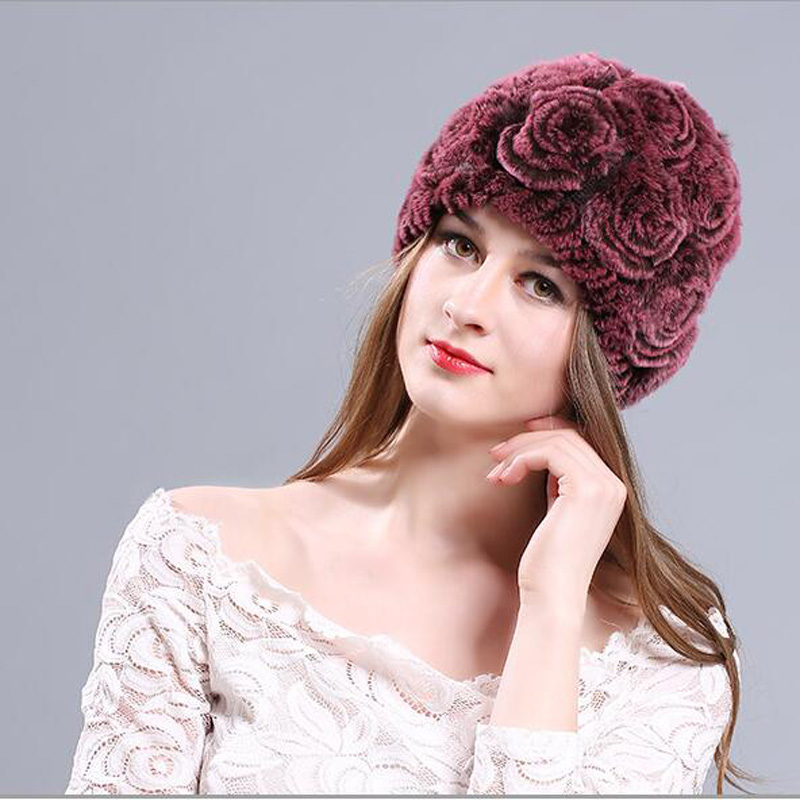 Autumn Winter Women Floral Knitted Hat Fashion Warm Windproof Female   Skullies   &   Beanies   Wrasse Rabbit Hair Girl Cap MZ058