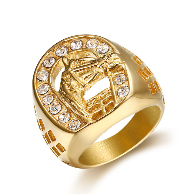 HIP Hop New Micro Pave Rhinestone Iced Out Bling Horse Ring IP Gold Filled Titanium Stainless Steel Rings for Men Jewelry