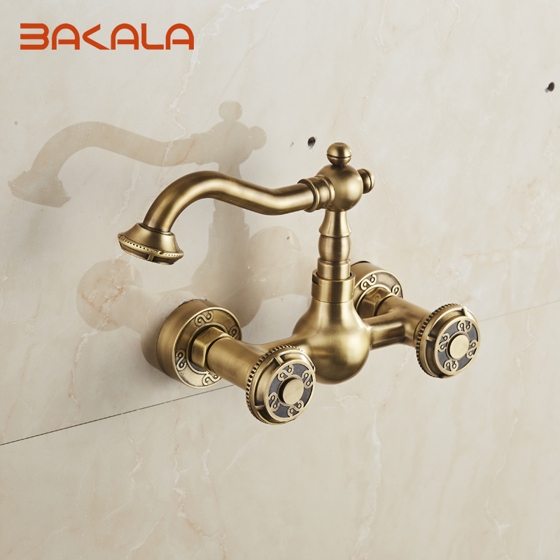 ФОТО Wall Mounted Two Handles Antique Brass Finish Kitchen Sink Bathroom basin Faucet mixer tap  BR-10705