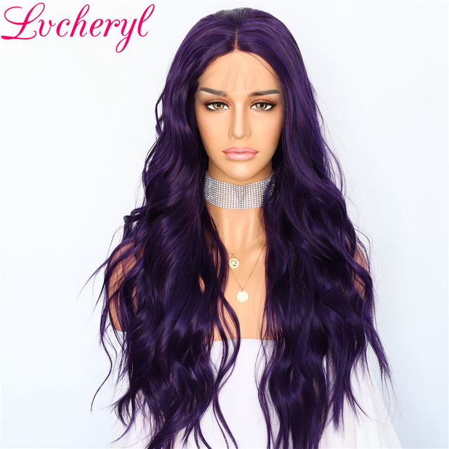 Lvcheryl Dark Purple Color Long Natural Wave Hair wigs Heat Resistant Fiber Hair Glueless Synthetic Lace Front Wigs for Women