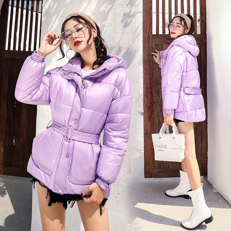 U-SWEAR Winter Coat Women Parkas Short Belt Slim Thick Warm Down Jacket Female Cotton-Padded Outerwear Vadim
