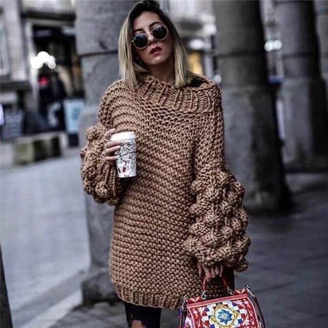 Warme Kersttrui.Preis Uberprufen Warme Winter Pullover Frauen Lose Hand Gestrickte