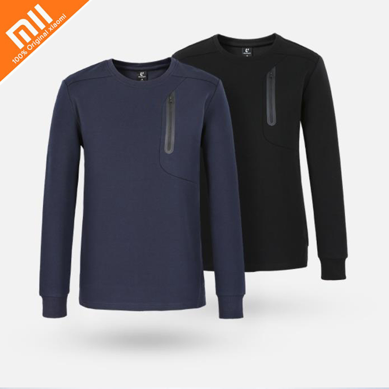 Original xiaomi mijia ULEEMARK men's round neck sports sweater fashion style skin-friendly fabric men's sweater high quality HOT beige round neck love patchwork sweater
