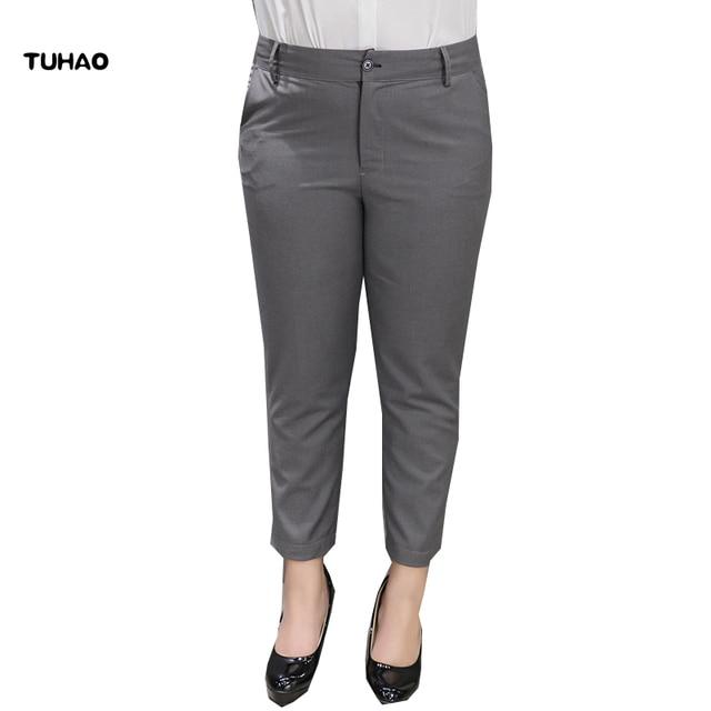 9cc5dd289c8 US $37.56 |TUHAO Plus Size Women's pant 2017 Formal 4XL 5XL 6XL Pants Women  ankle length straight Trousers big sizes female Pants QT17-in Pants & ...