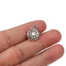 Charm Pendants Jewelry-Making Necklace Handmade Silver-Color Antique 10pc/Lot Beer-Cap