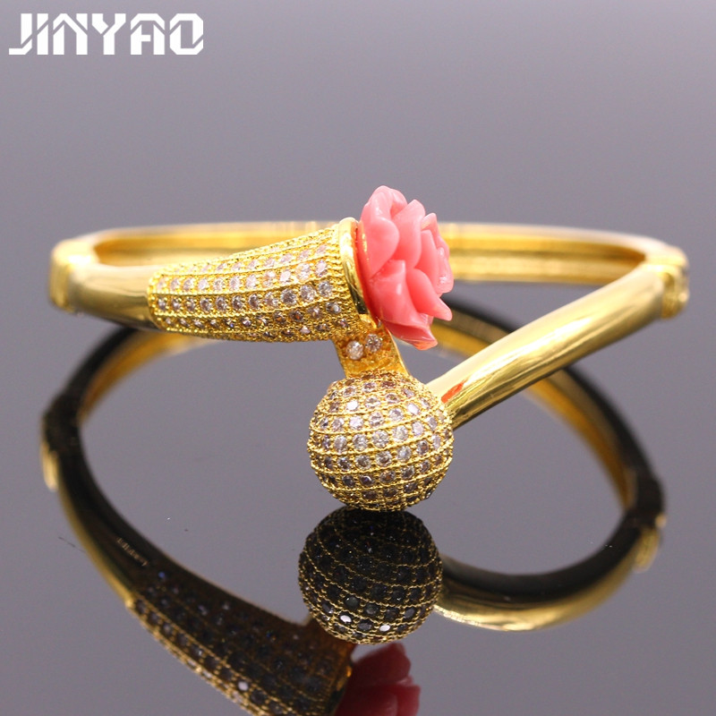 JINYAO Graceful Micro-inserts AAA Cubic Zirconia Coral Pure Gold Color Women Weddding Bangles Bracelet For Women Gift ...