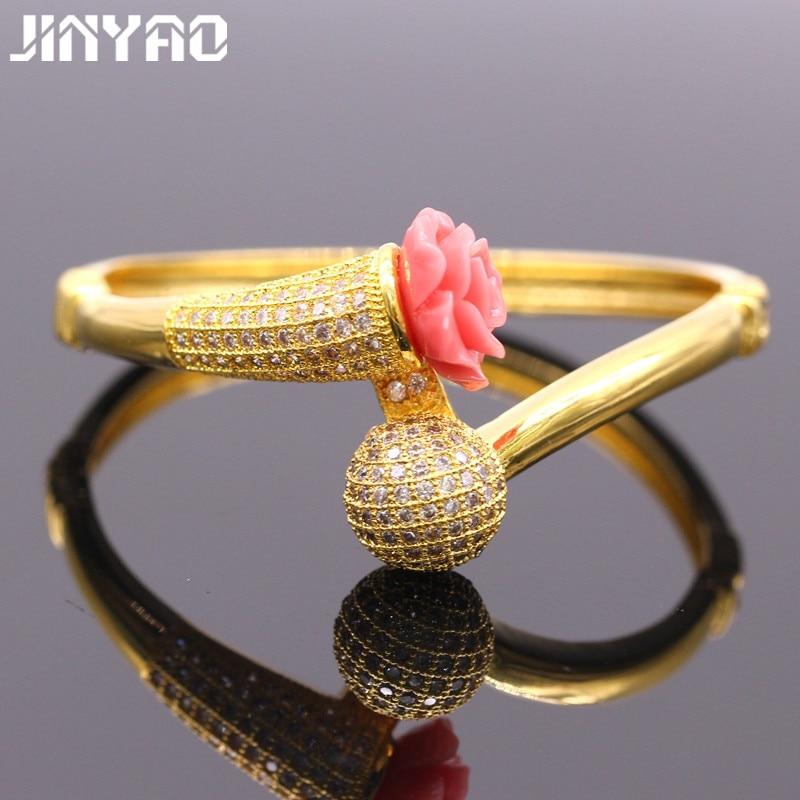 295f6436d47ce Jinyao رشيقة الصغرى إدراج aaa زركون الذهب الخالص اللون المرجانية المرأة  weddding أساور سوار للمرأة هدية