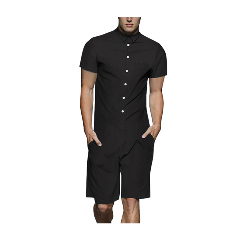 Summer Men's Sets Solid Shorts Sleeve Rompers One Piece Men Shirt Pants Playsuits With Two Pockets Rompers Top+Shorts Set