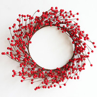 40cm Red Artificial Berry Christmas Wreath Decorations Imitation Berries Xmas Door Decorations Free Shipping 1pc/lot