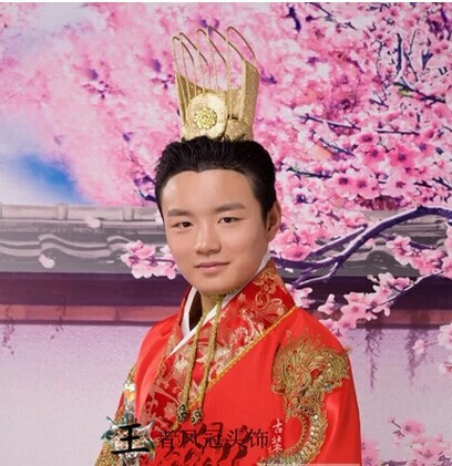 Vintage Chinese Men's Officer Tiaras Hair Piece Ancient Chinese Court Male Officer's Hat 00009 red gold bride wedding hair tiaras ancient chinese empress hair piece